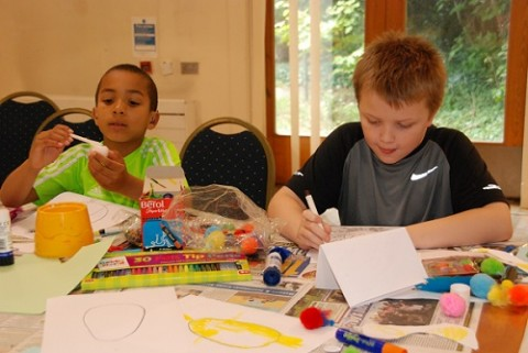disabled children getting involved in art activities