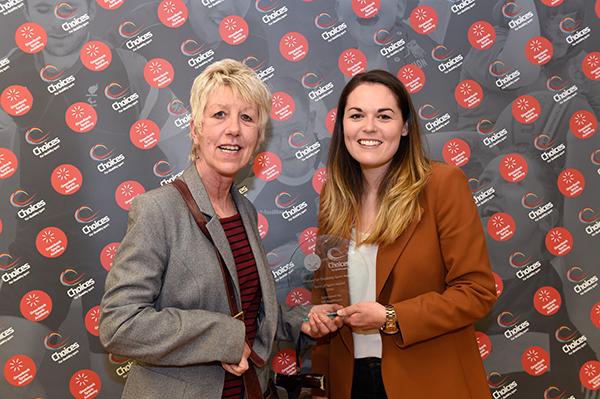 Spirit o Sport Award winner Julia Burge (left) with Alice Wilson, Deloitte