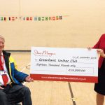 William Shortall, Greenbank Trustee being presented the cheque by Gosia McHale