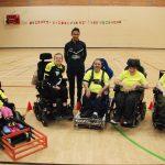 Arran Williams with the Greenbank Power Hockey Team