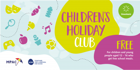 colourful graphical elements with lettering 'Children's Holiday Club'